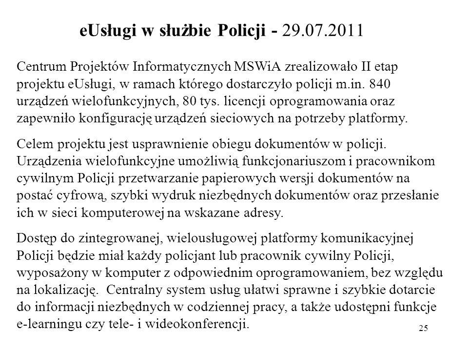 eUsługi w służbie Policji - 29.07.2011