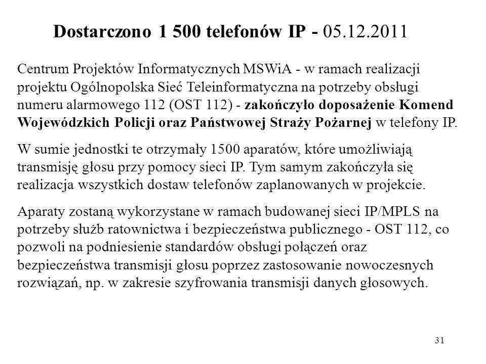 Dostarczono 1 500 telefonów IP - 05.12.2011