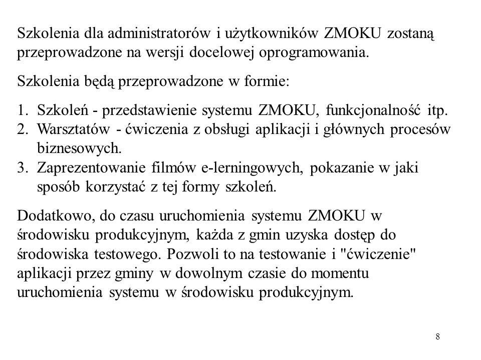 Szkolenia dla administratorów i użytkowników ZMOKU zostaną przeprowadzone na wersji docelowej oprogramowania.