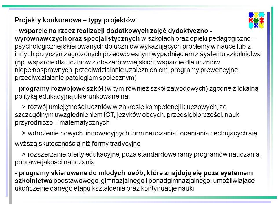 Projekty konkursowe – typy projektów: