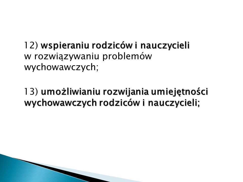 12) wspieraniu rodziców i nauczycieli w rozwiązywaniu problemów wychowawczych;