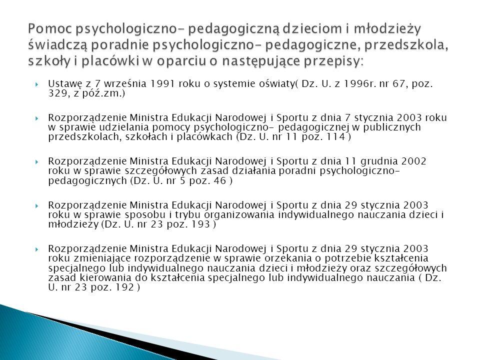 Pomoc psychologiczno- pedagogiczną dzieciom i młodzieży świadczą poradnie psychologiczno- pedagogiczne, przedszkola, szkoły i placówki w oparciu o następujące przepisy:
