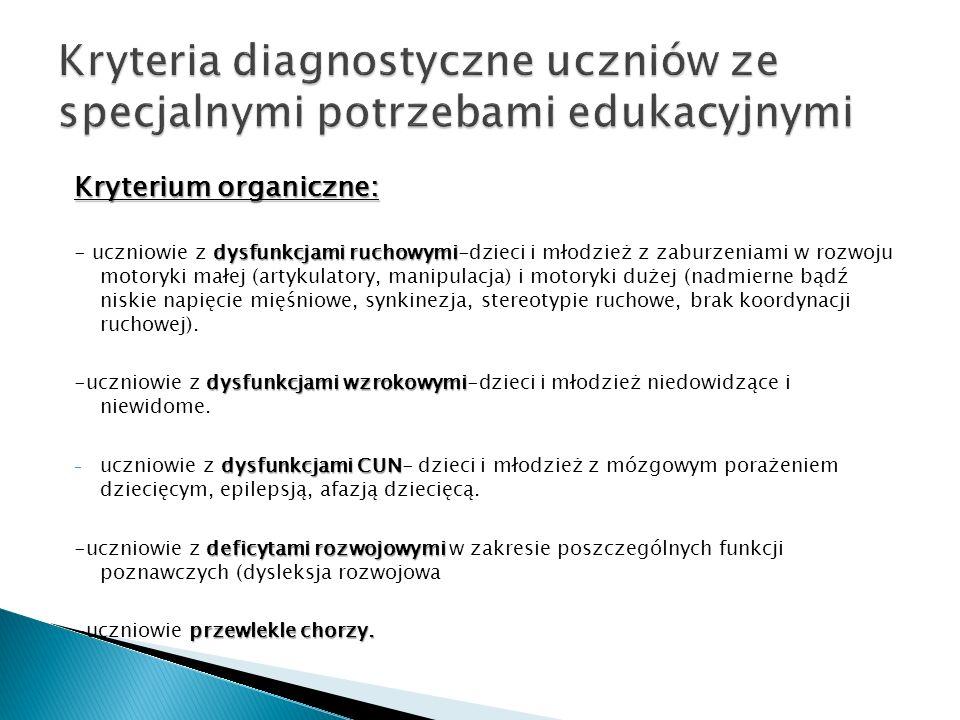 Kryteria diagnostyczne uczniów ze specjalnymi potrzebami edukacyjnymi
