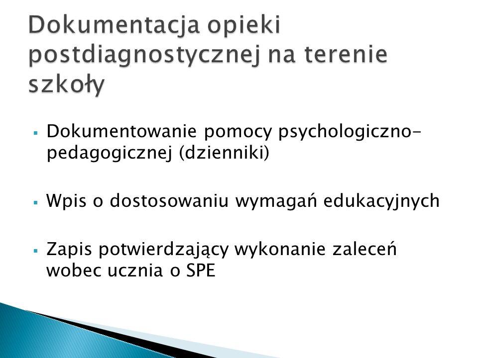 Dokumentacja opieki postdiagnostycznej na terenie szkoły