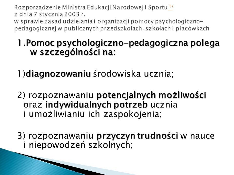 1.Pomoc psychologiczno-pedagogiczna polega w szczególności na: