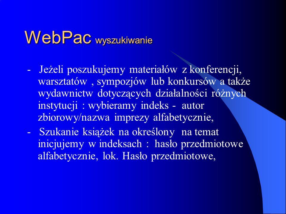 WebPac wyszukiwanie