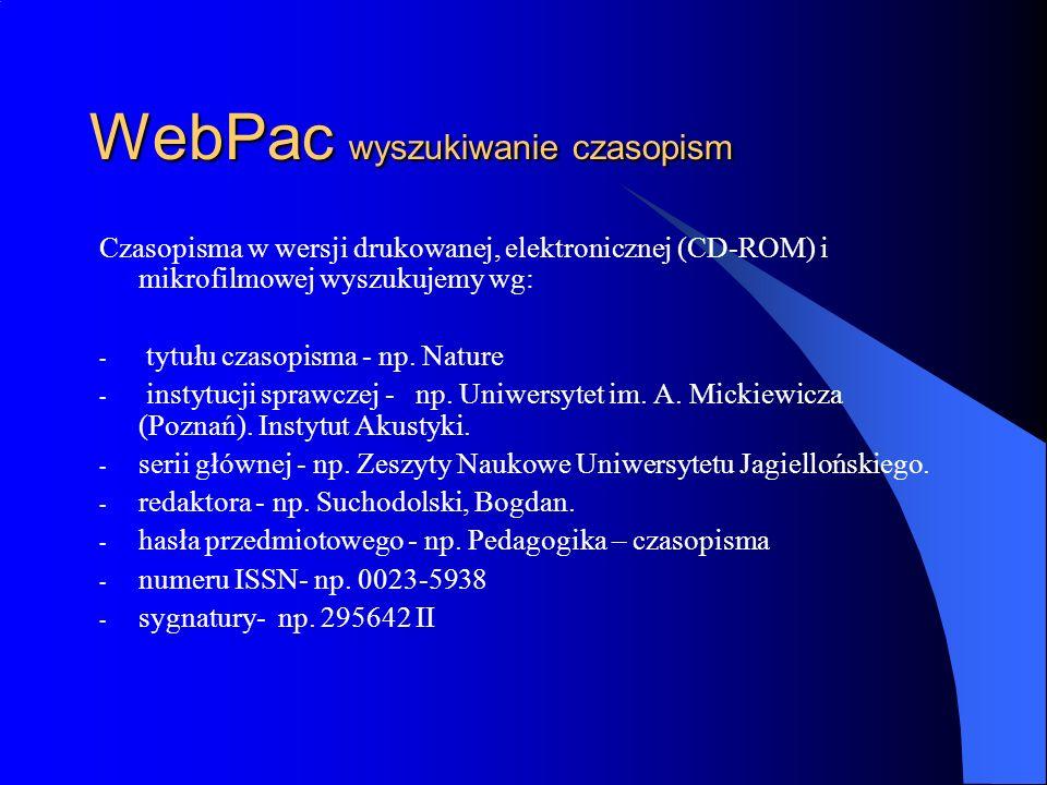 WebPac wyszukiwanie czasopism