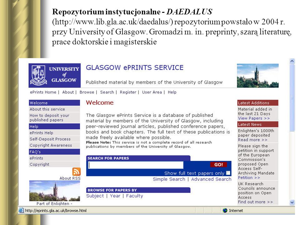 Repozytorium instytucjonalne - DAEDALUS (http://www. lib. gla. ac