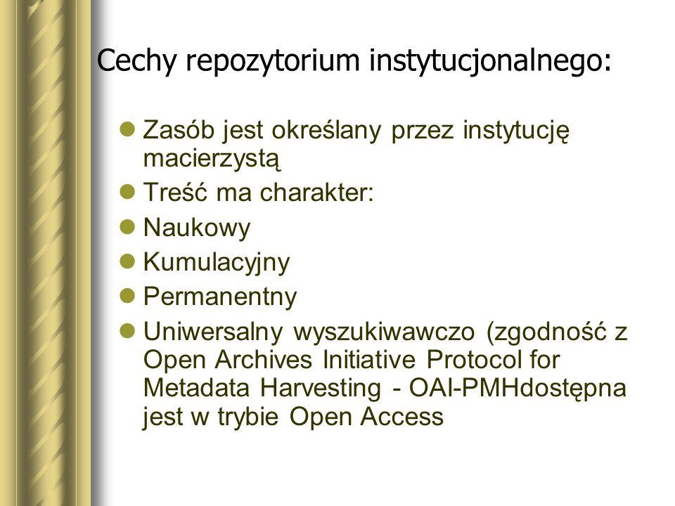 Cechy repozytorium instytucjonalnego: