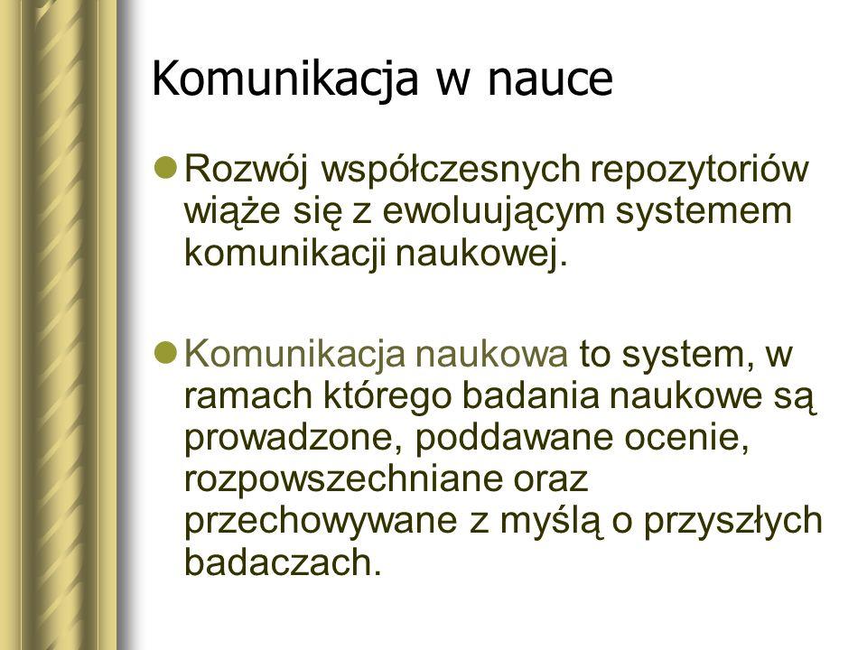 Komunikacja w nauceRozwój współczesnych repozytoriów wiąże się z ewoluującym systemem komunikacji naukowej.
