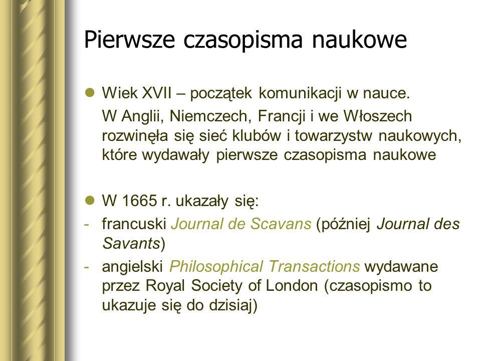 Pierwsze czasopisma naukowe