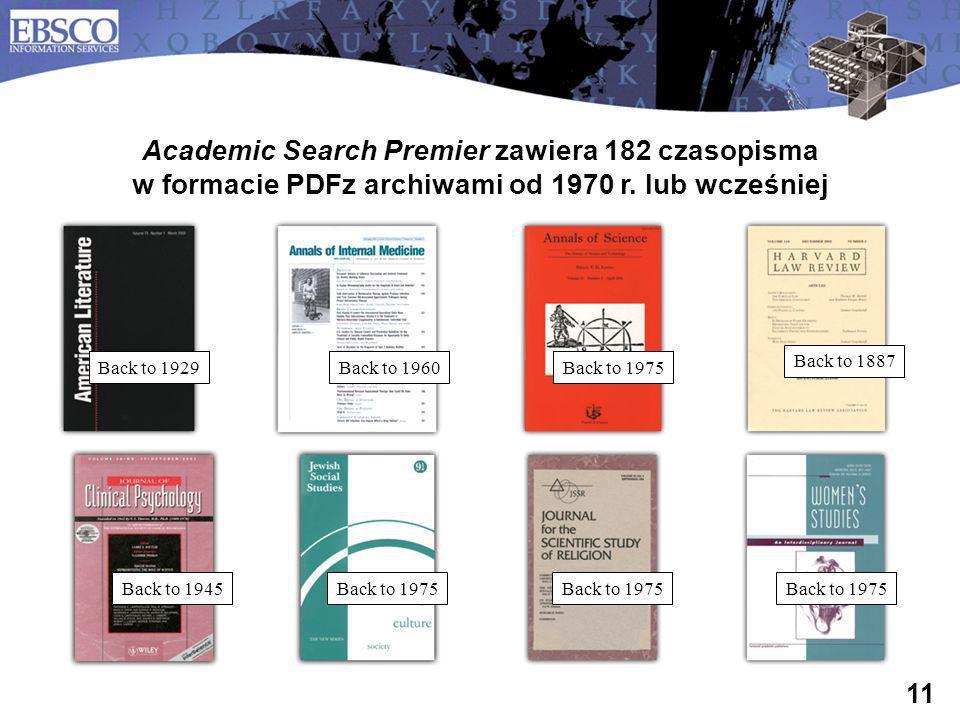 Academic Search Premier zawiera 182 czasopisma