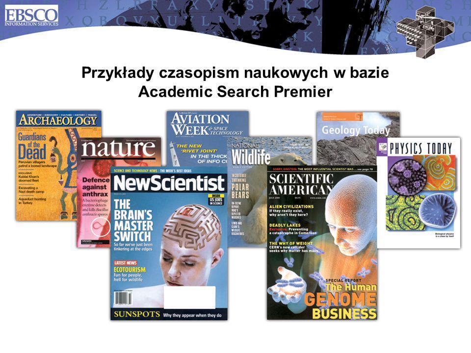 Przykłady czasopism naukowych w bazie Academic Search Premier