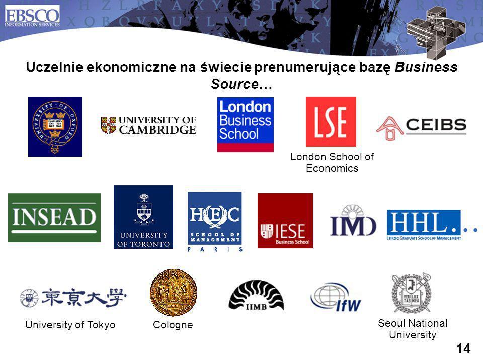 Uczelnie ekonomiczne na świecie prenumerujące bazę Business Source…