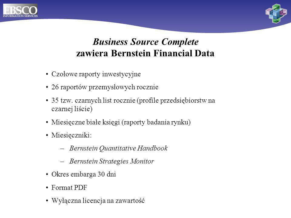 Business Source Complete zawiera Bernstein Financial Data