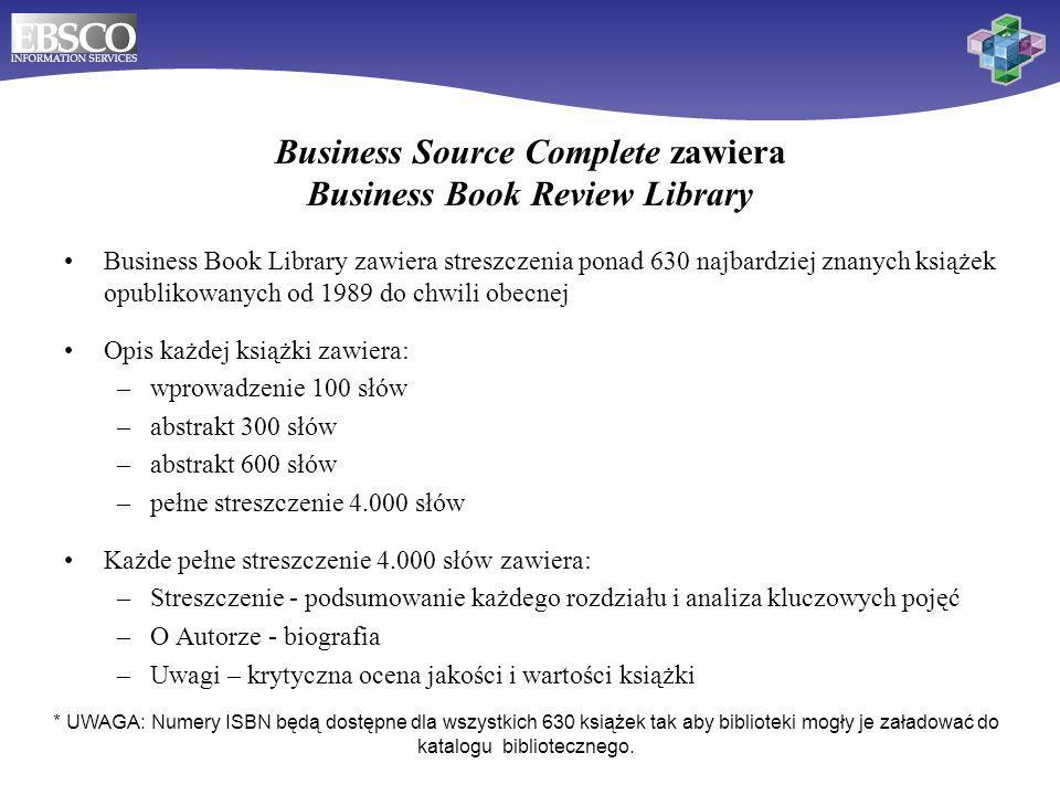 Business Source Complete zawiera Business Book Review Library