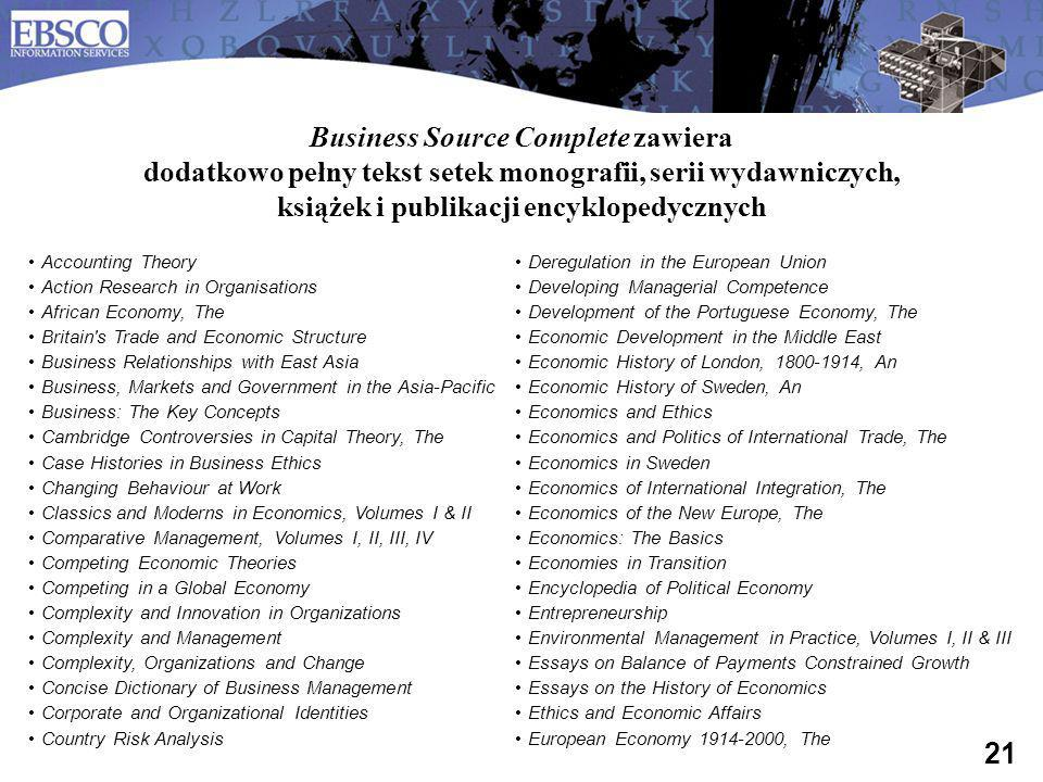 Business Source Complete zawiera dodatkowo pełny tekst setek monografii, serii wydawniczych, książek i publikacji encyklopedycznych