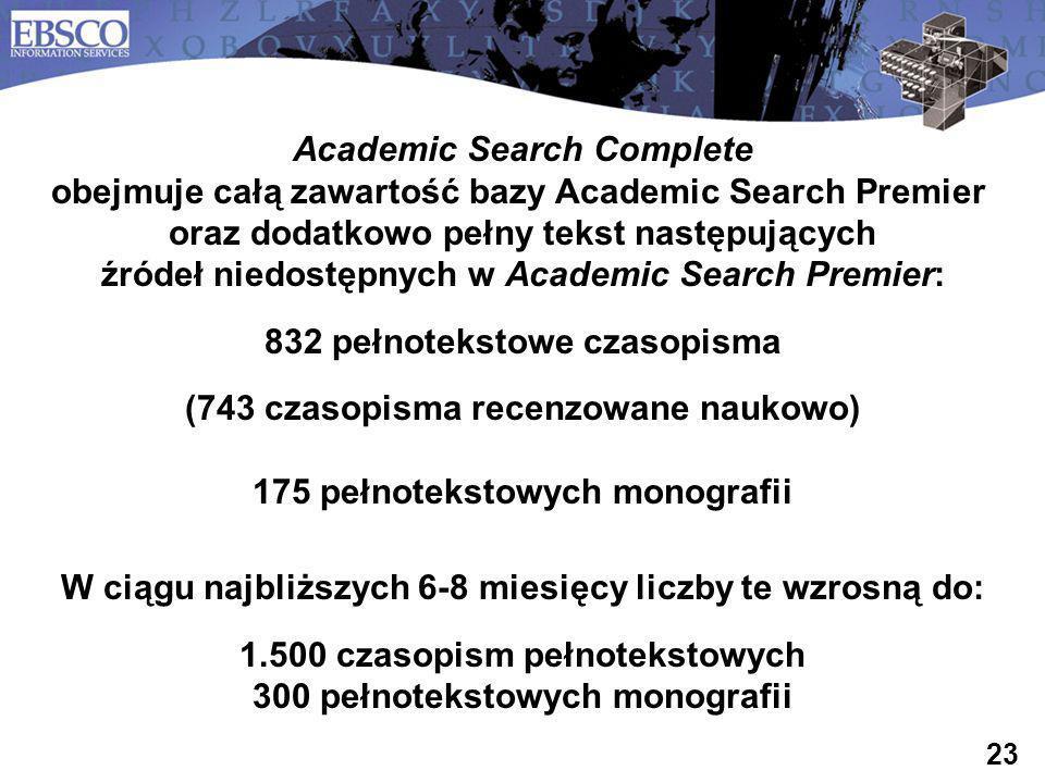 832 pełnotekstowe czasopisma (743 czasopisma recenzowane naukowo)