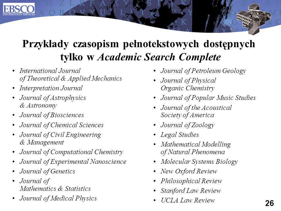 Przykłady czasopism pełnotekstowych dostępnych tylko w Academic Search Complete