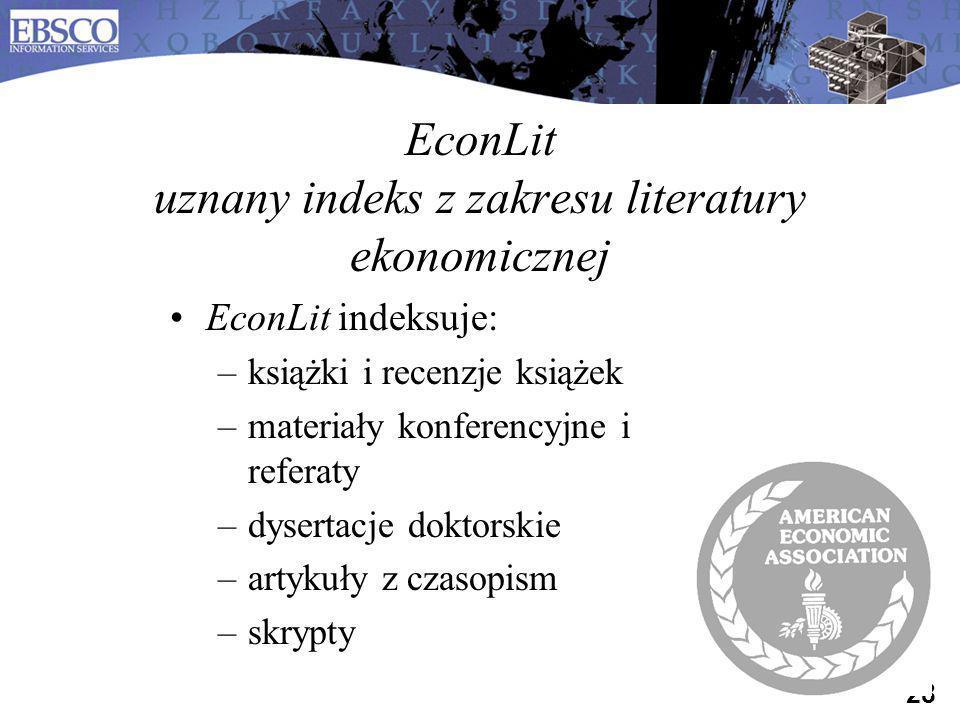 EconLit uznany indeks z zakresu literatury ekonomicznej