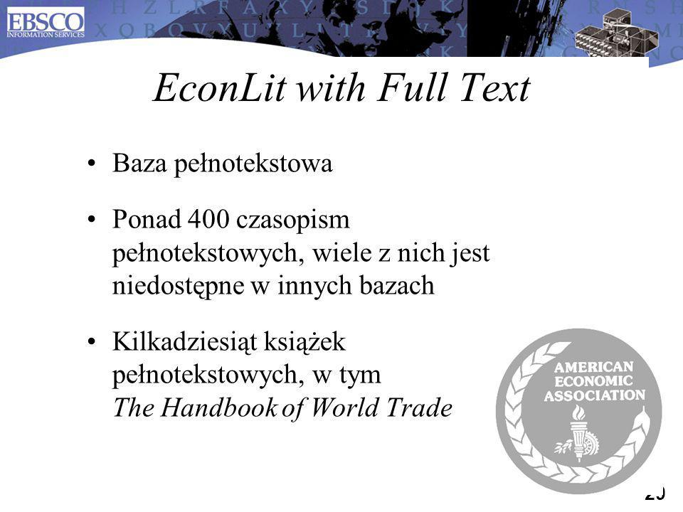 EconLit with Full Text Baza pełnotekstowa