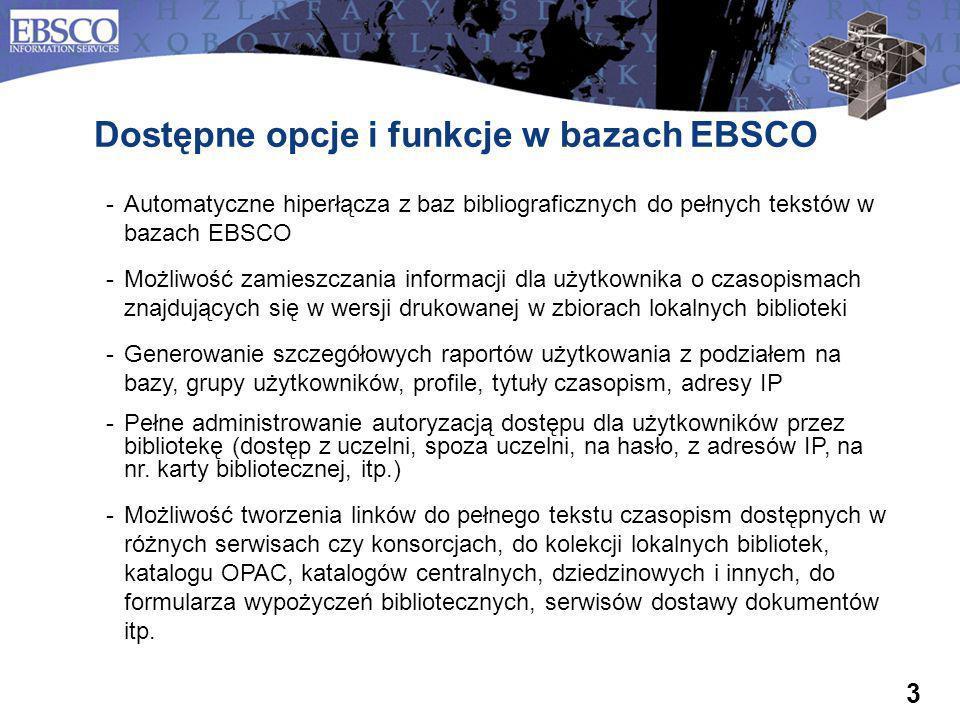 Dostępne opcje i funkcje w bazach EBSCO