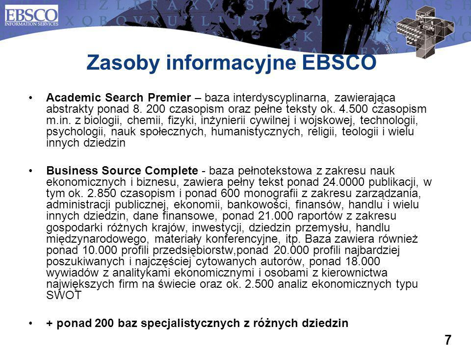 Zasoby informacyjne EBSCO