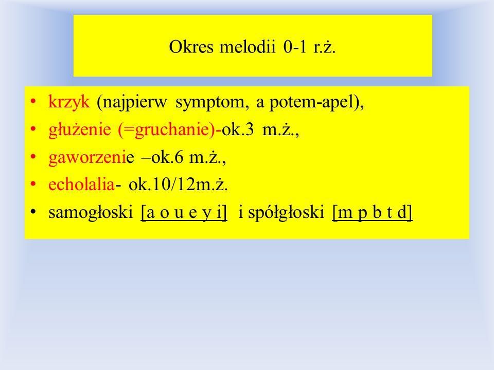 Okres melodii 0-1 r.ż. krzyk (najpierw symptom, a potem-apel), głużenie (=gruchanie)-ok.3 m.ż., gaworzenie –ok.6 m.ż.,