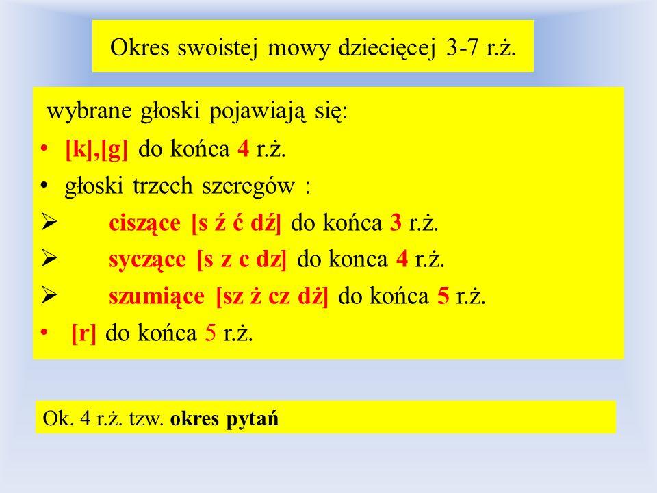 Okres swoistej mowy dziecięcej 3-7 r.ż.