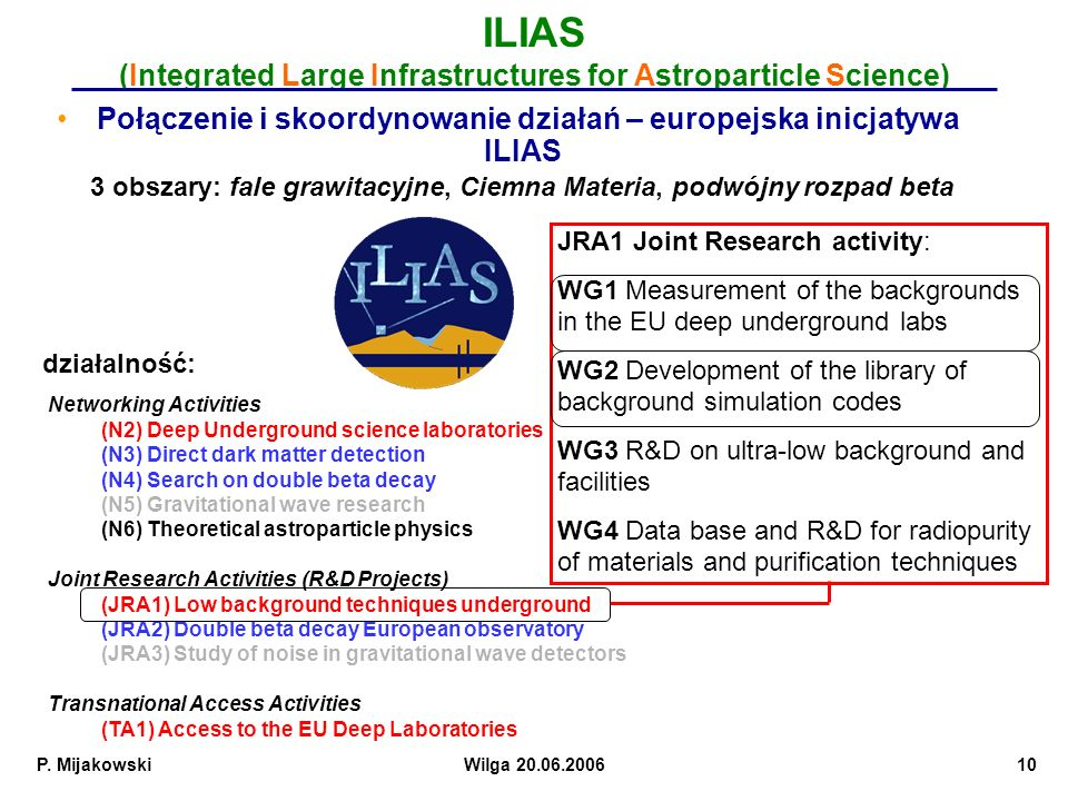 ILIAS (Integrated Large Infrastructures for Astroparticle Science)
