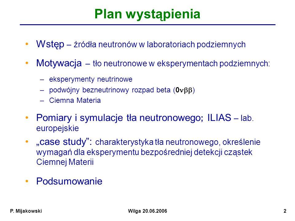 Plan wystąpienia Wstęp – źródła neutronów w laboratoriach podziemnych