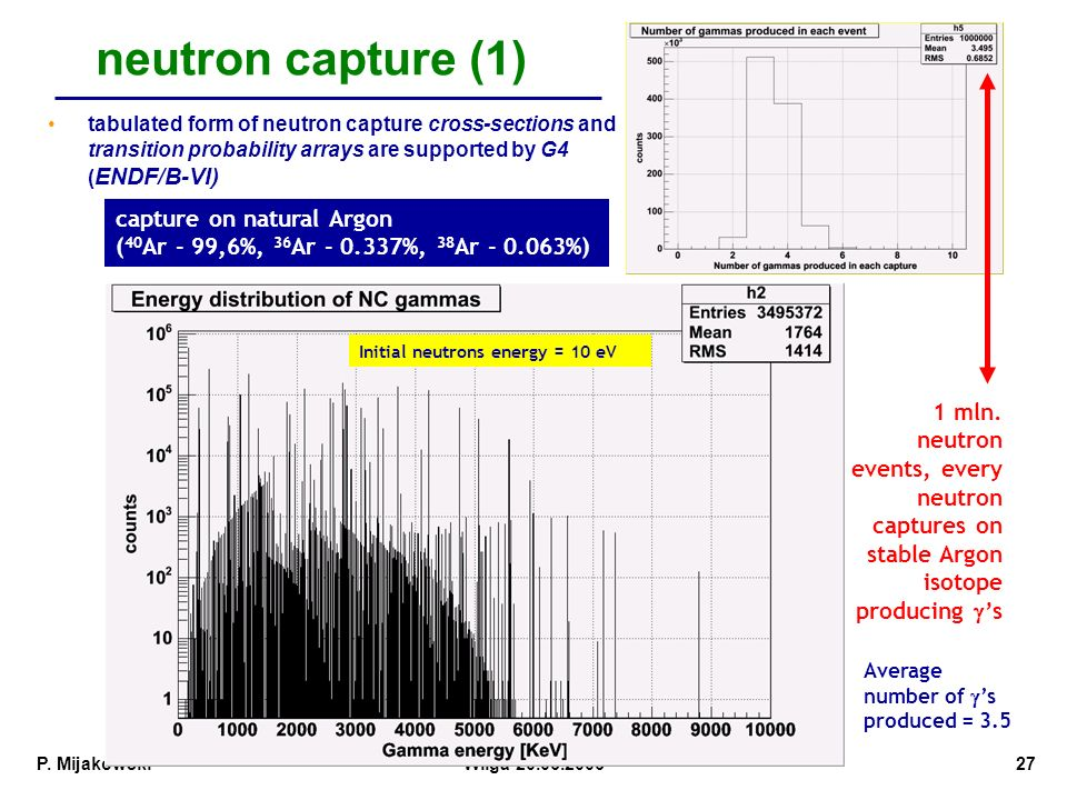 neutron capture (1) tabulated form of neutron capture cross-sections and transition probability arrays are supported by G4 (ENDF/B-VI)