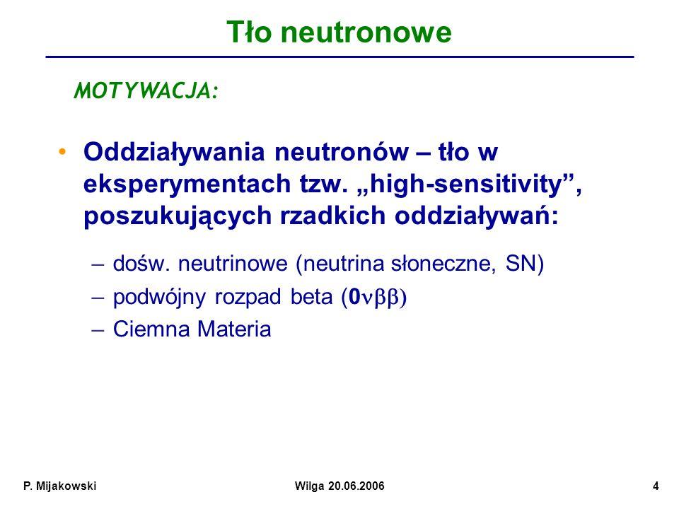 """Tło neutronowe MOTYWACJA: Oddziaływania neutronów – tło w eksperymentach tzw. """"high-sensitivity , poszukujących rzadkich oddziaływań:"""