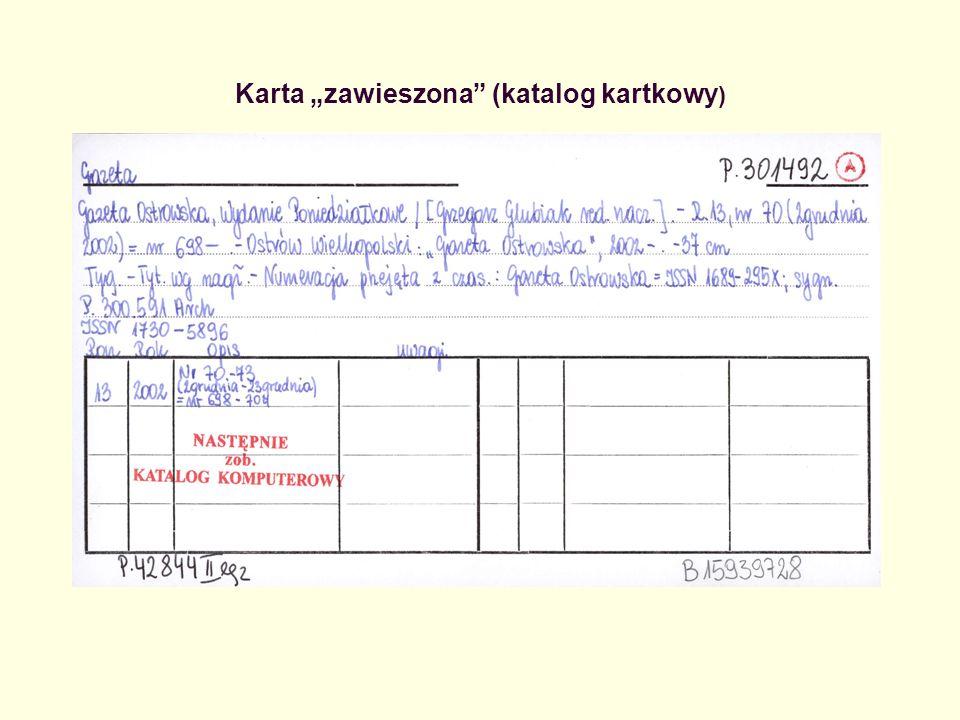 """Karta """"zawieszona (katalog kartkowy)"""