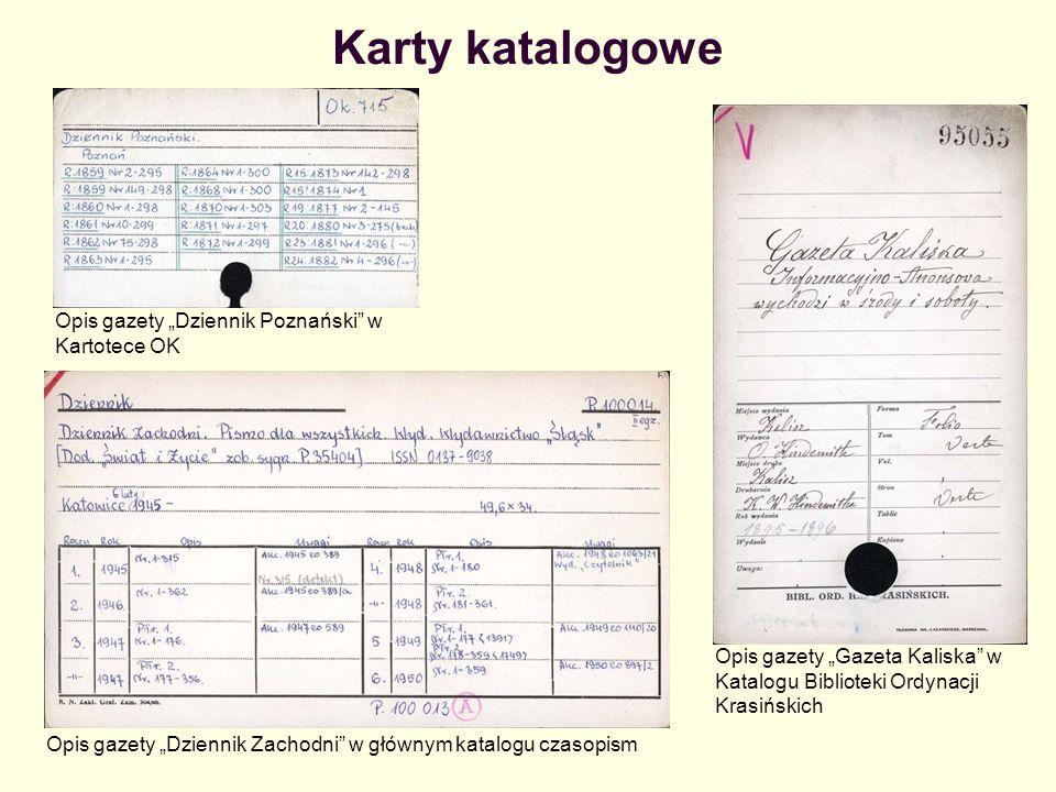 """Karty katalogowe Opis gazety """"Dziennik Poznański w Kartotece OK"""