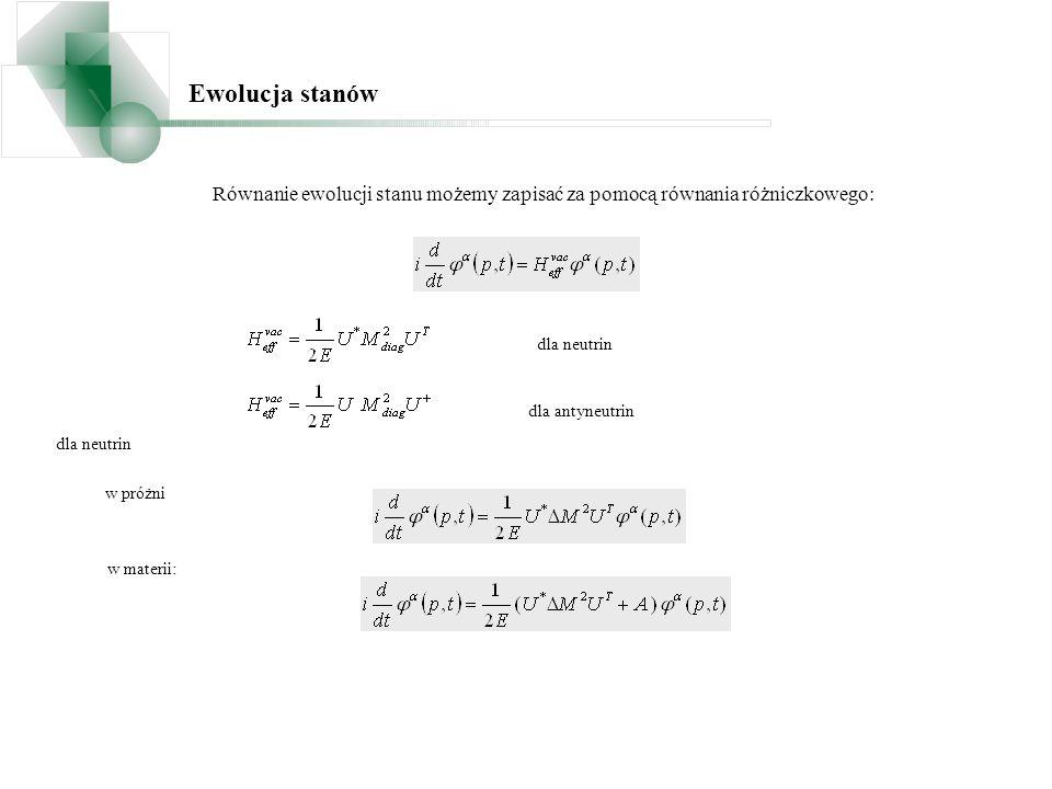 Ewolucja stanów Równanie ewolucji stanu możemy zapisać za pomocą równania różniczkowego: dla neutrin.