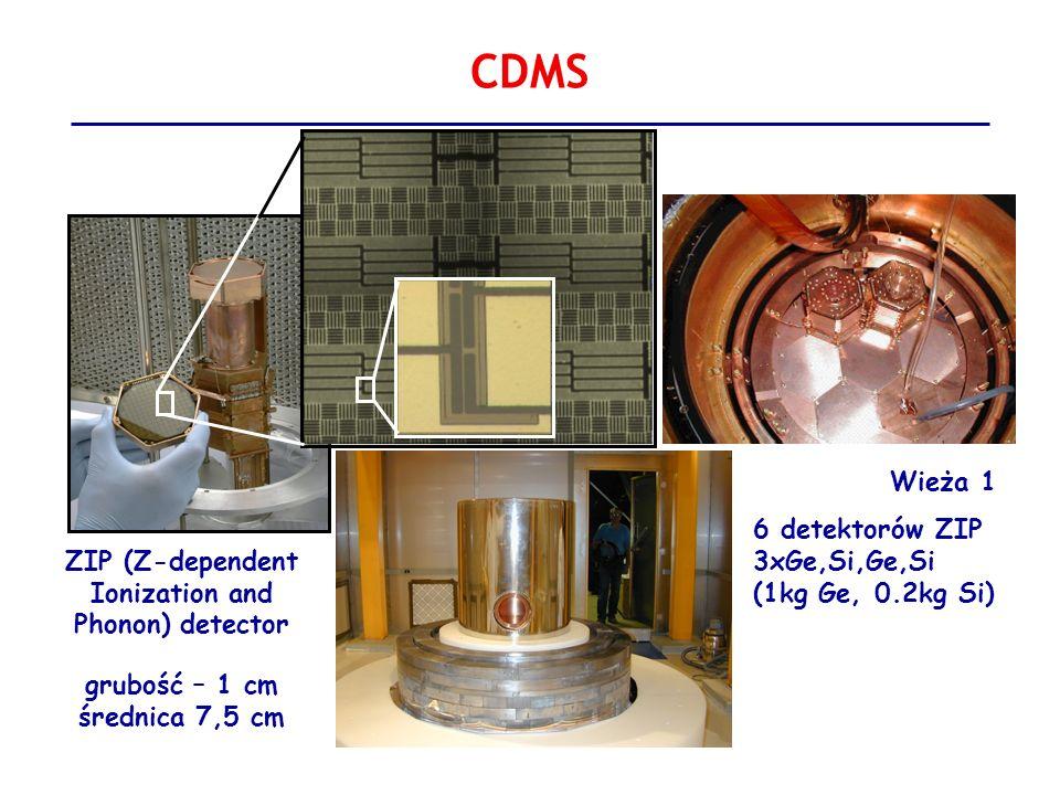 CDMS Wieża 1 6 detektorów ZIP 3xGe,Si,Ge,Si (1kg Ge, 0.2kg Si)