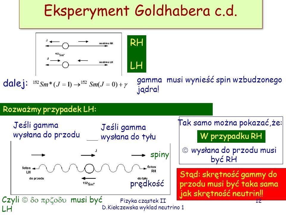 Eksperyment Goldhabera c.d.