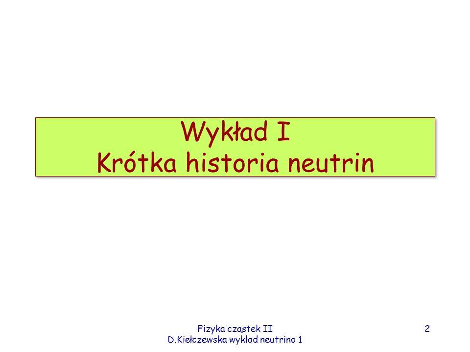 Wykład I Krótka historia neutrin