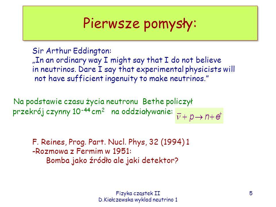 Fizyka cząstek II D.Kiełczewska wyklad neutrino 1