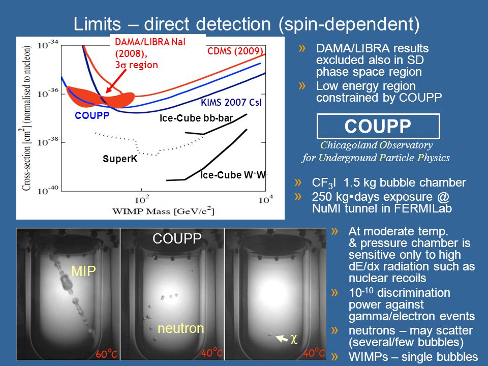 Limits – direct detection (spin-dependent)