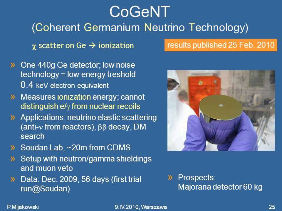 CoGeNT (Coherent Germanium Neutrino Technology)
