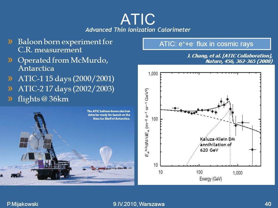 ATIC Baloon born experiment for C.R. measurement
