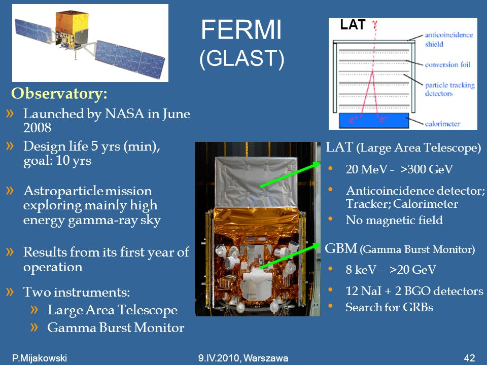 FERMI (GLAST) Observatory: LAT Launched by NASA in June 2008