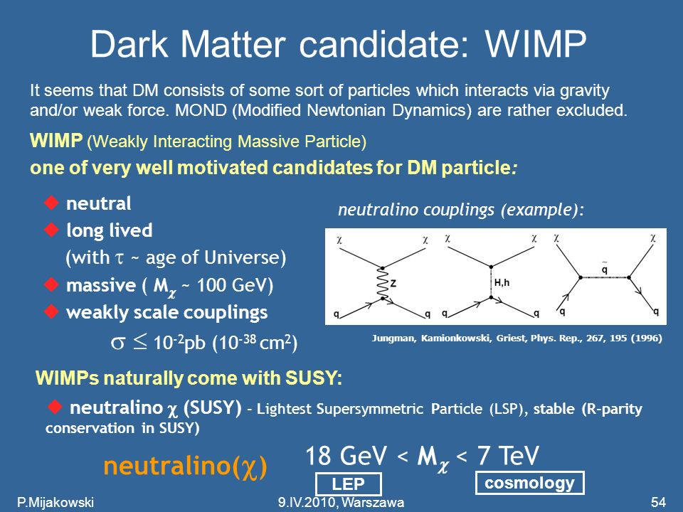 Dark Matter candidate: WIMP