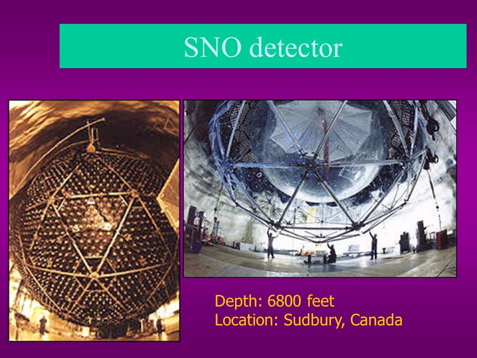 SNO detector Depth: 6800 feet Location: Sudbury, Canada