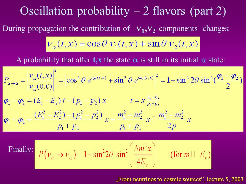 Oscillation probability – 2 flavors (part 2)