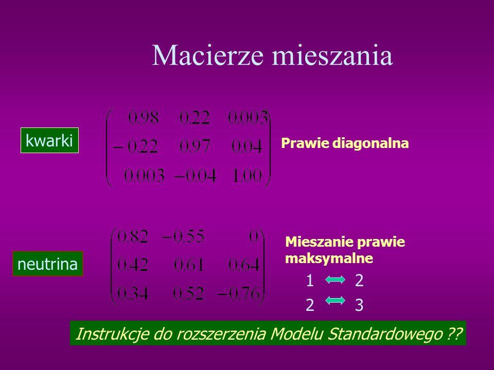 Macierze mieszania kwarki neutrina 1 2 2 3