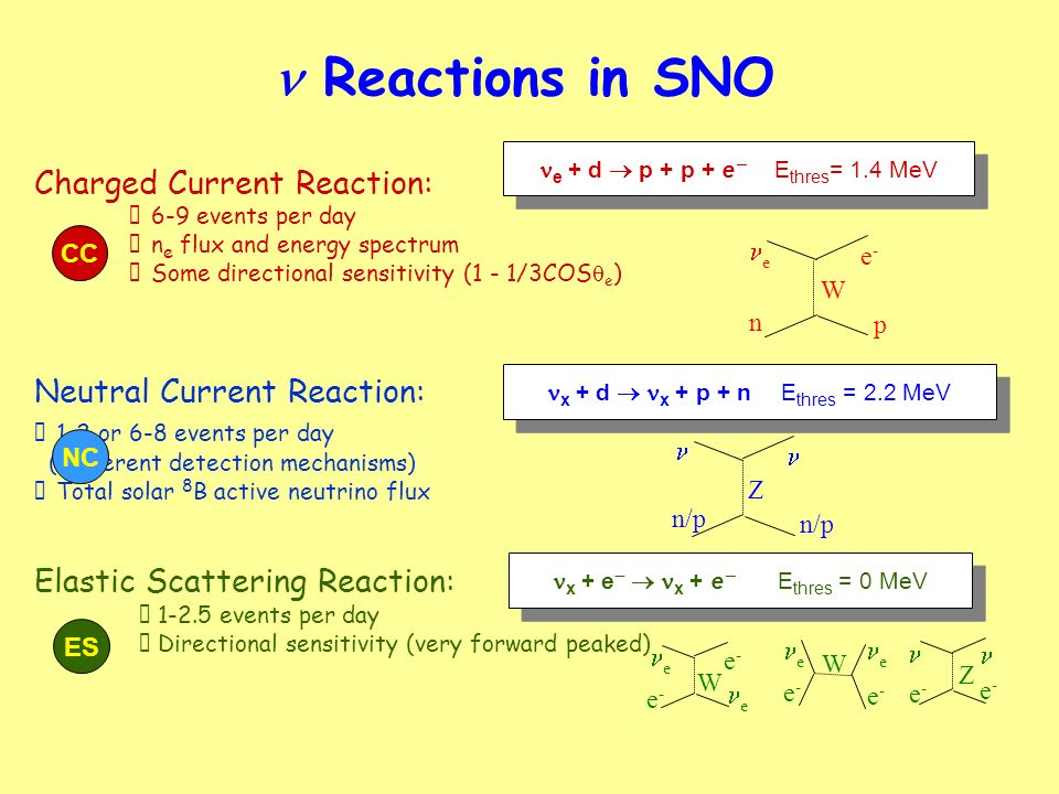 n Reactions in SNO Charged Current Reaction: Neutral Current Reaction: