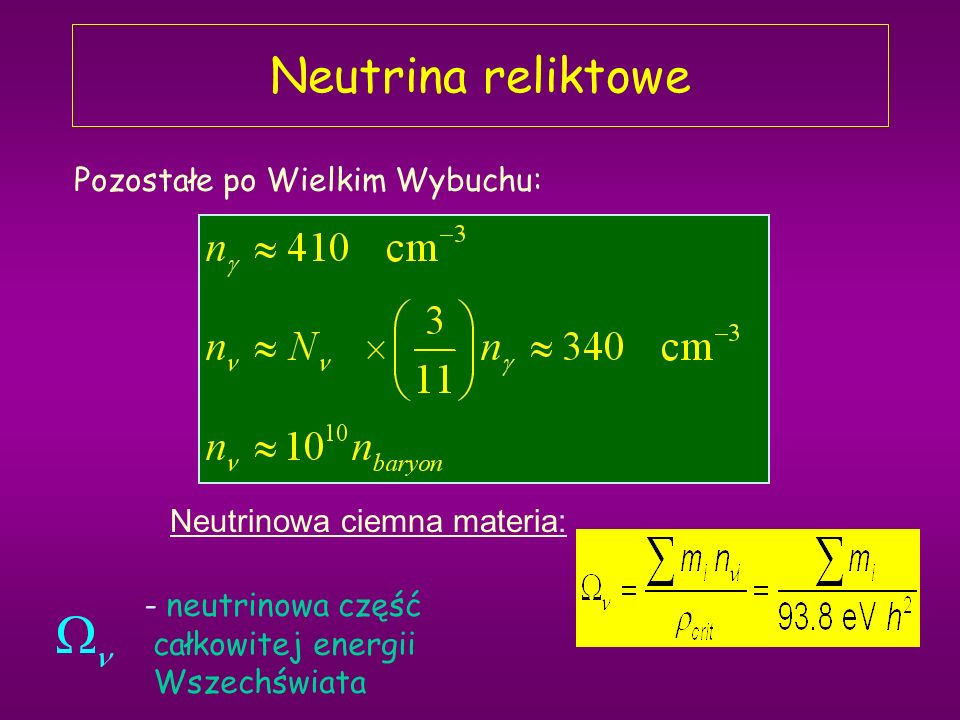 Neutrina reliktowe Pozostałe po Wielkim Wybuchu: